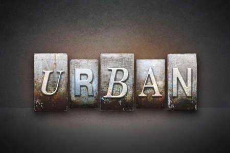 The word URBAN written in vintage letterpress type Фото со стока