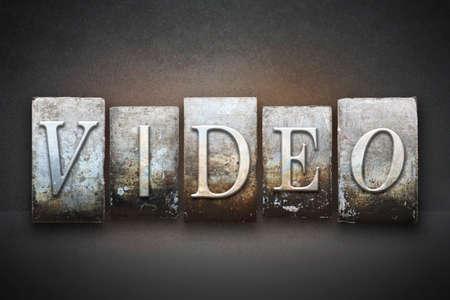 The word VIDEO written in vintage letterpress type