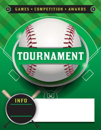 A baseball tournament flyer illustration.