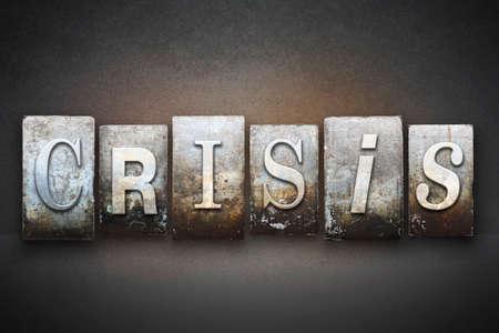 terrorism crisis: The word CRISIS written in vintage letterpress type Stock Photo