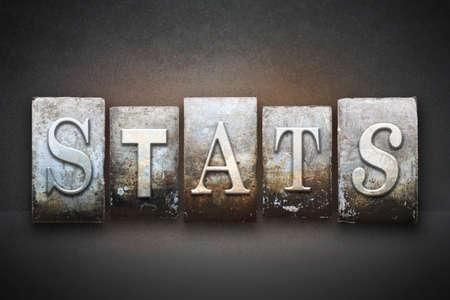 statistician: The word STATS written in vintage letterpress type