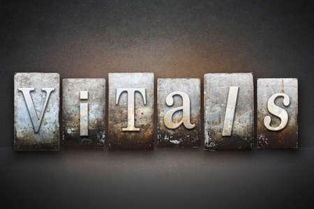 vital signs: La palabra DATOS escritos en tipo de tipograf�a de �poca Foto de archivo