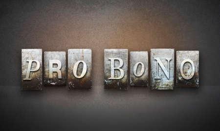 pro: The words PRO BONO written in vintage letterpress type