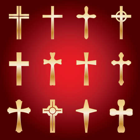 christian crosses: An illustrated set of 12 golden holy crosses of various shapes and sizes. Vector eps avaialable. Illustration