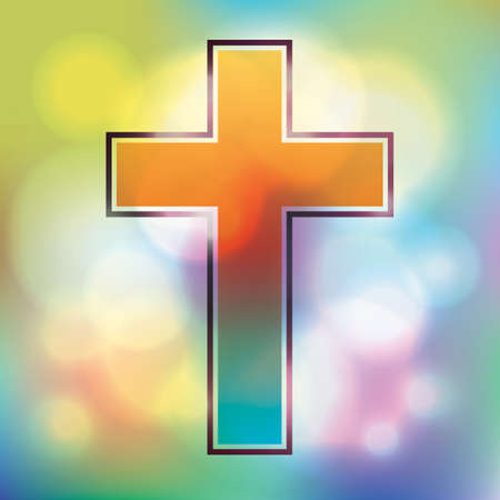 An illustration of a bright and colorful cross and bokeh background.