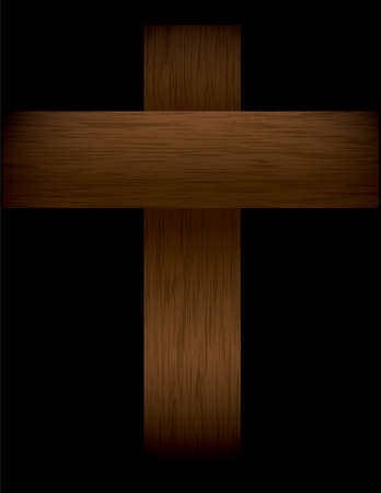 crucifiction: An illustration of a wood grained cross fading into a black background.