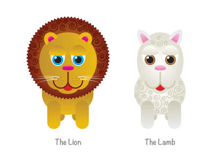 A cute childrens lion and a lamb illustration isolated on white. Vector EPS 10 available.
