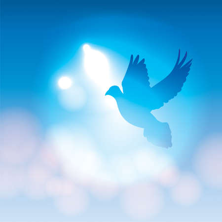 An illustration of a silhouetted dove flying against a blue background with soft bokeh lighting. Vector EPS 10 available. EPS file contains transparencies. Imagens - 34411518