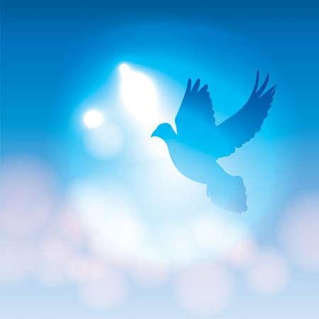 Een illustratie van een silhouet duif vliegen tegen een blauwe achtergrond met zachte bokeh verlichting. Vector EPS-10 beschikbaar. EPS-bestand bevat transparanten.