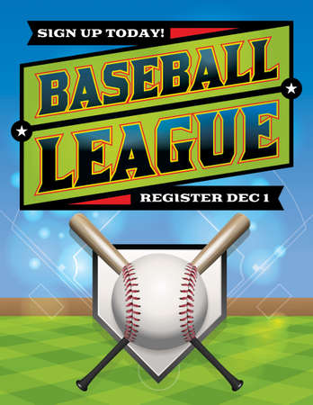 A baseball league registration illustration. Vector eps 10 available. EPS file is layered. Fonts have been converted to outlines.  Vector