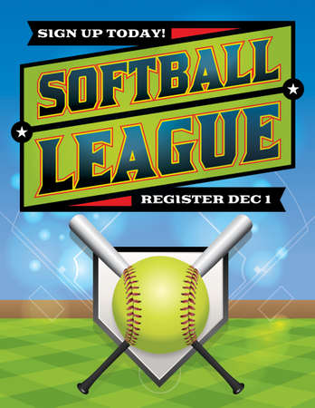 An illustration for a softball league flyer. Vector eps 10 available. EPS file is layered. Font have been converted to outlines.  Illustration