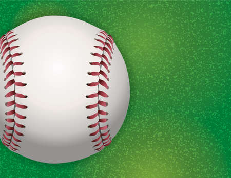 A baseball on a realistic textured grass turf illustration. Vector EPS 10 available. EPS file contains transparencies. 向量圖像