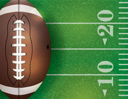 An illustration of an American football field and ball. Vector EPS 10 available. EPS file contains transparencies.