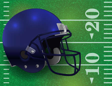 An American Football helmet on a realistic textured field background. Vector EPS 10 available. EPS file contains transparencies.