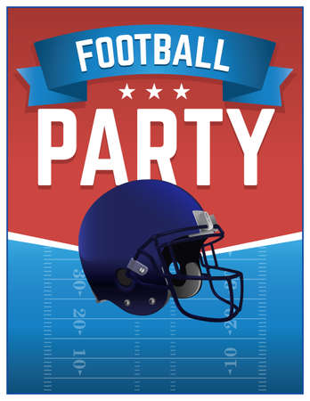 college: An American Football Party flyer illustration. Vector EPS 10 available. EPS file contains transparencies. Text has been converted to outlines.