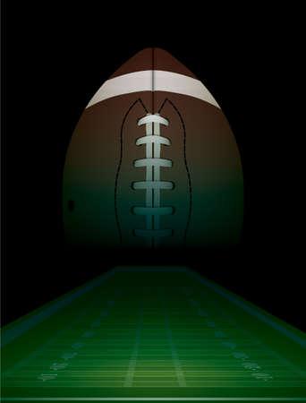 jugando futbol: F�tbol americano y el fondo del campo de la ilustraci�n. Vector EPS 10 disponible. Archivo EPS contiene las transparencias. Vectores