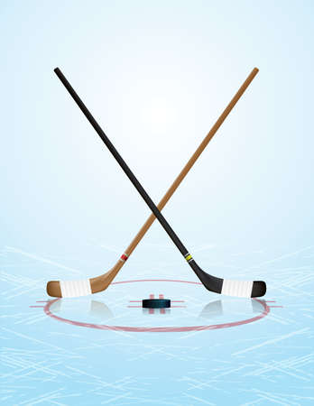 rink: An illustration of ice hockey sticks, puck, and ice rink. Vector EPS 10 available. EPS file contains transparencies and gradient mesh. Illustration