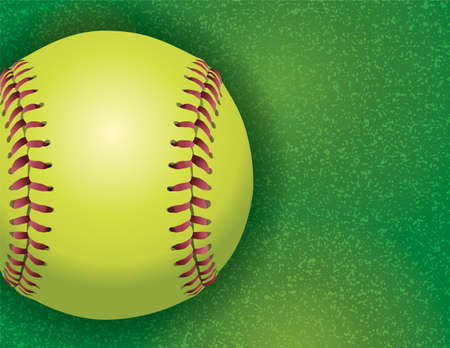 softball: An aerial view of a softball on a realistic textured field illustration. Vector EPS 10 available. EPS file contains transparencies.
