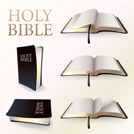 An illustration of a Christian Holy BIble in various viewpoints and turned pages. Vector EPS 10 available. EPS file contains gradient mesh in dropshadows. Stock Illustratie