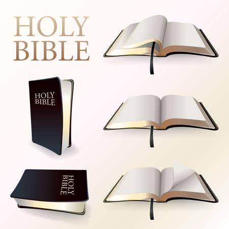 Una ilustración de un cristiano Santa Biblia en varios puntos de vista y las páginas torneadas. Vector EPS 10 disponible. Archivo EPS contiene malla de degradado en DropShadows. Ilustración de vector
