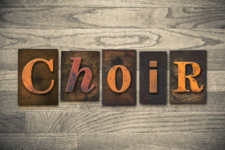 The word CHOIR written in wooden letterpress type. Stock Photo