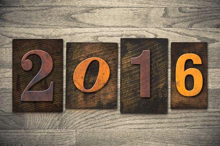 The year 2016 written in wooden letterpress type. photo