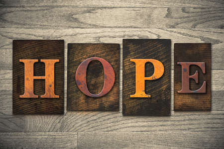 hope: The word HOPE written in wooden letterpress type. Stock Photo