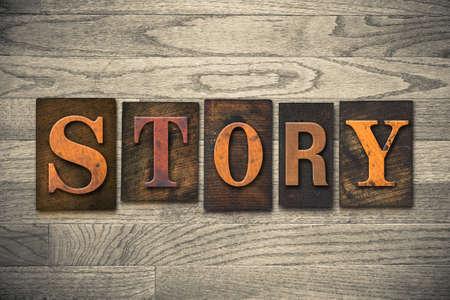 narrative: The word STORY written in wooden letterpress type.