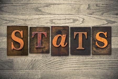 """demografia: Los """"STATS"""" palabra escrita en tipograf�a de madera."""