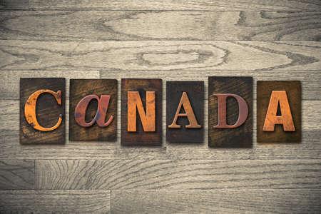 The word CANADA written in wooden letterpress type. photo