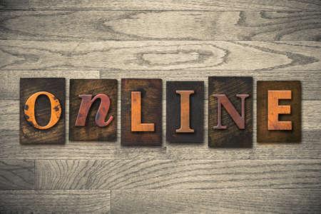 letterpress: The word ONLINE written in wooden letterpress type. Stock Photo
