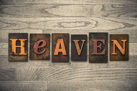 The word HEAVEN written in wooden letterpress type. photo