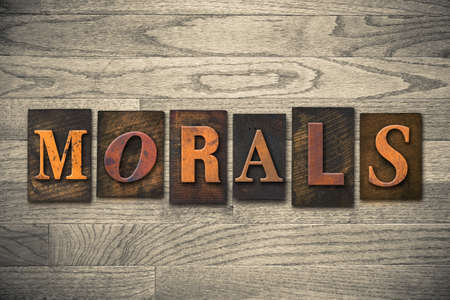 morals: The word MORALS written in wooden letterpress type.