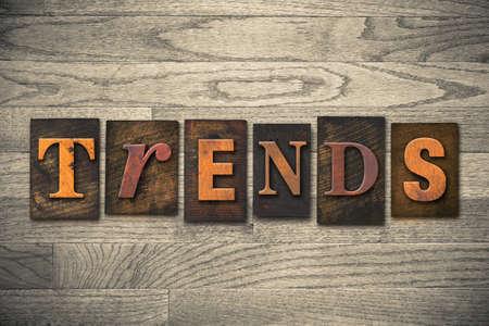 popularity: The word TRENDS written in vintage wooden letterpress type. Stock Photo