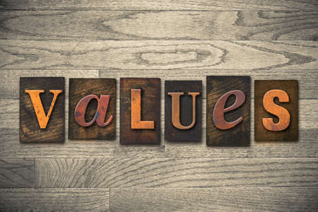 scruples: The word VALUES written in vintage wooden letterpress type.