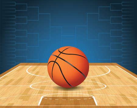 Een illustratie van een basketbal op een rechter en een toernooi beugel op de achtergrond. Vector EPS-10 beschikbaar. EPS-bestand is gelaagd en bevat transparanten.