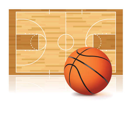 An illustration of a basketball and basketball court isolated on a white background. Vector EPS 10 available. EPS file contains transparencies and a gradient mesh.