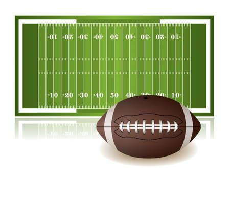 미식 축구 필드와 흰 배경에 고립 된 공의 그림. 벡터 EPS 10 사용할 수 있습니다. EPS 파일에는 투명 용지가 들어 있습니다.