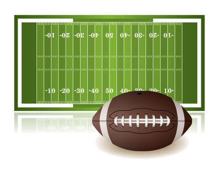 An illustration of an American football field and ball isolated on a white background. Vector EPS 10 available. EPS file contains transparencies.