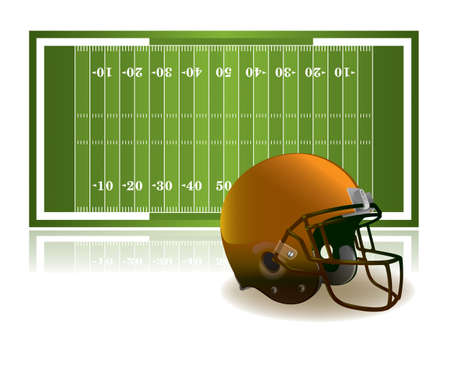 An illustration of an American football field and helmet isolated on a white background. Vector EPS 10 available. EPS file contains transparencies.