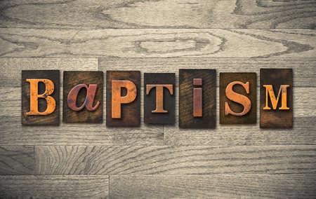 """battesimo: La parola """"BATTESIMO"""" scritto in epoca tipografica tipo di legno."""