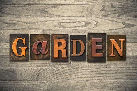 letterpress: The word GARDEN written in vintage wooden letterpress type. Stock Photo