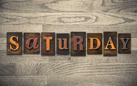 The word SATURDAY written in vintage wooden letterpress type. Stock fotó