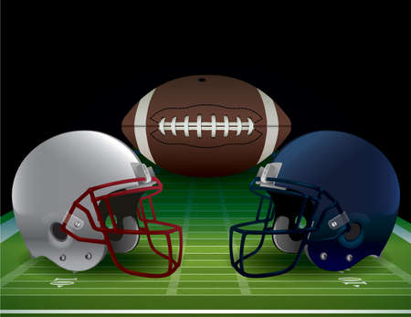 nfl football: An illustration of an American Football field, helmets, and ball. Vector EPS 10 available. EPS file contains transparencies and gradient mesh. EPS is layered.