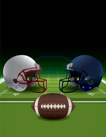 Eine Abbildung der realistischen American-Football-Helme, Feld und Ball. EPS 10 zur Verfügung. EPS-Datei ist vielschichtig und enthält Transparentfolien und Verlaufsgitterobjekten.