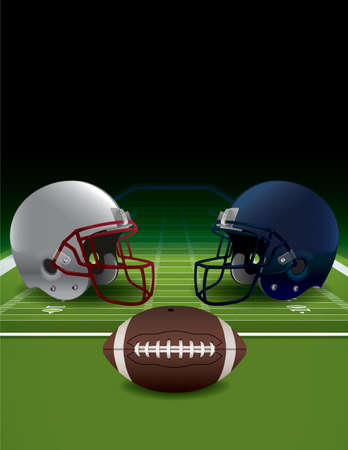 An illustration of realistic American football helmets, field, and ball. Vector EPS 10 available. EPS file is layered and contains transparencies and gradient mesh.