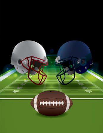 Een illustratie van American Football helmen botst op een veld met een bal. Vector EPS-10 beschikbaar. EPS-bestand bevat transparanten en verloopnet. EPS is gelaagd.