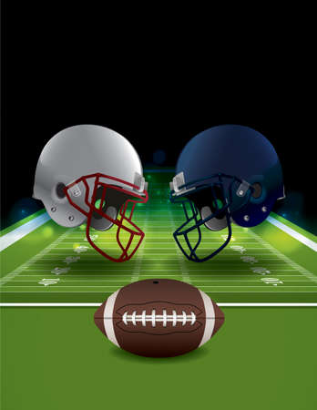 An illustration of American Football helmets clashing on a field with a ball. Vector EPS 10 available. EPS file contains transparencies and gradient mesh. EPS is layered. Illustration