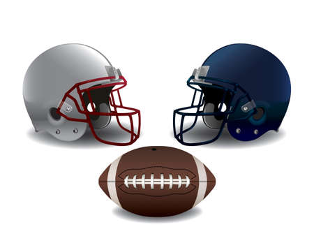 American football helmets and ball isolated on white illustration. Vector EPS 10 available. EPS file contains transparencies and gradient mesh.
