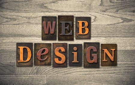 The words WEB DESIGN written in vintage wooden letterpress type.